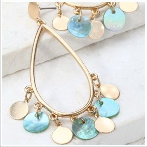 LOVELY Tear Drop Disc Charm Earrings In Blue